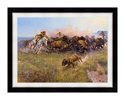 Charles Russell Buffalo Hunt No 39 canvas with modern black frame