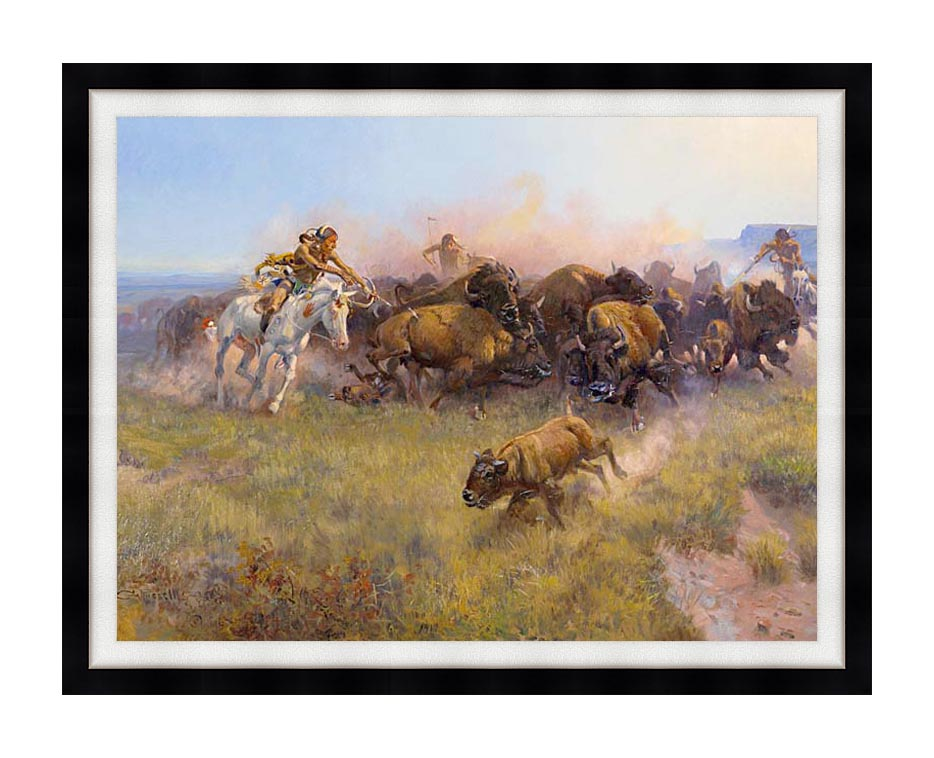 Charles Russell Buffalo Hunt No. 39 with Modern Black Frame
