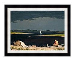 Martin Johnson Heade Approaching Thunder Storm canvas with modern black frame