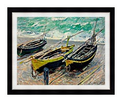 Claude Monet Three Fishing Boats canvas with modern black frame
