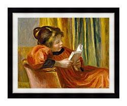 Pierre Auguste Renoir Girl Reading canvas with modern black frame