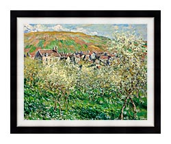Claude Monet Flowering Plum Trees canvas with modern black frame