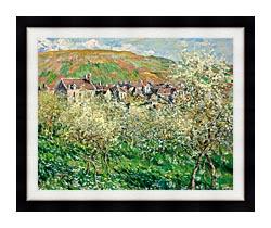 Claude Monet Flowering Plum Trees canvas with modern black frame