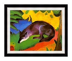 Franz Marc Blue Black Fox canvas with modern black frame