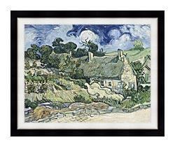 Vincent Van Gogh Thatched Cottages At Cordeville canvas with modern black frame