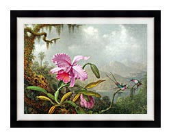 Martin Johnson Heade Orchids And Hummingbirds canvas with modern black frame