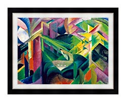 Franz Marc Deer In A Monastery Garden canvas with modern black frame