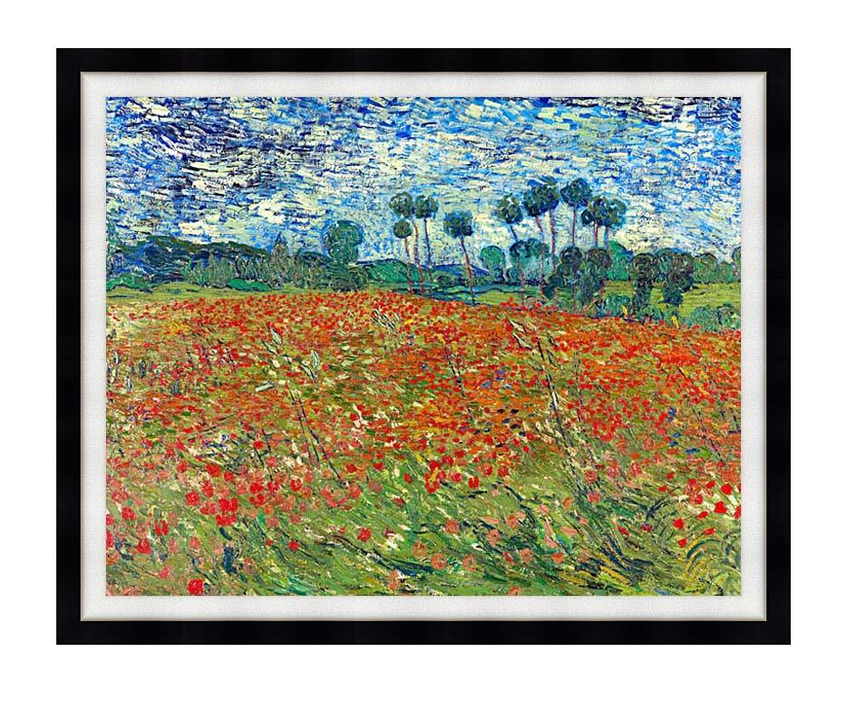 Vincent van Gogh A Poppy Field with Modern Black Frame