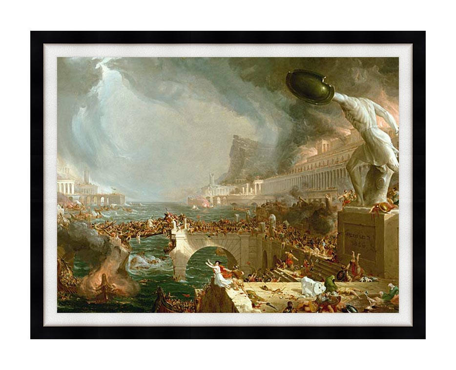Thomas Cole The Course of Empire Destruction with Modern Black Frame