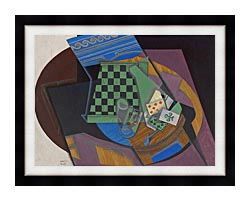 Juan Gris Checkerboard And Playing Cards canvas with modern black frame