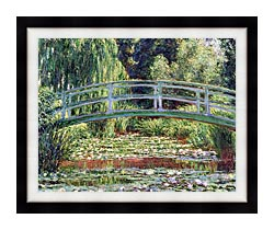 Claude Monet The Japanese Footbridge And The Water Lily Pool Giverny canvas with modern black frame