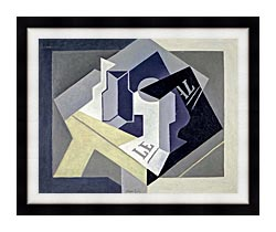 Juan Gris Frutero Y Periodico canvas with modern black frame