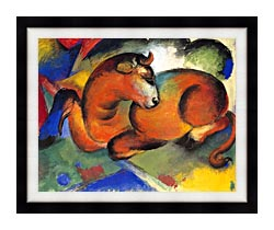 Franz Marc Red Bull canvas with modern black frame