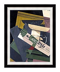 Juan Gris Grapes canvas with modern black frame