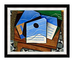 Juan Gris Guitar On A Table canvas with modern black frame