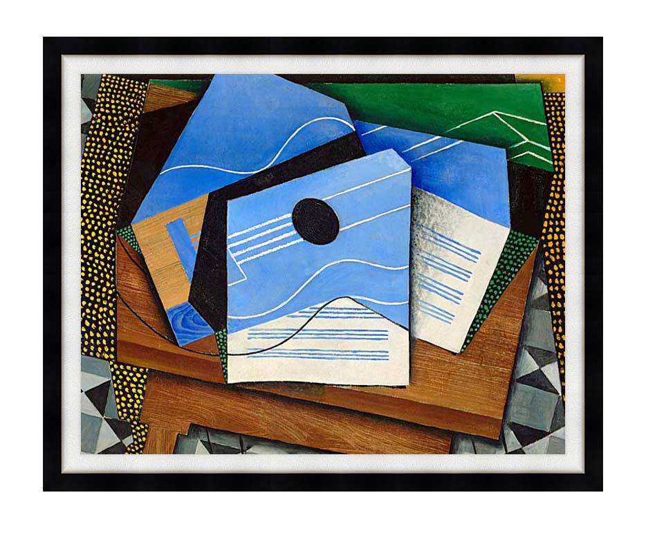 Juan Gris Guitar on a Table with Modern Black Frame