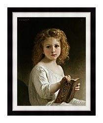 William Bouguereau The Story Book canvas with modern black frame