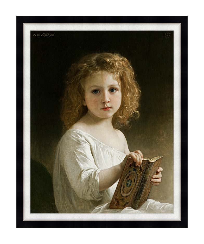 William Bouguereau The Story Book with Modern Black Frame