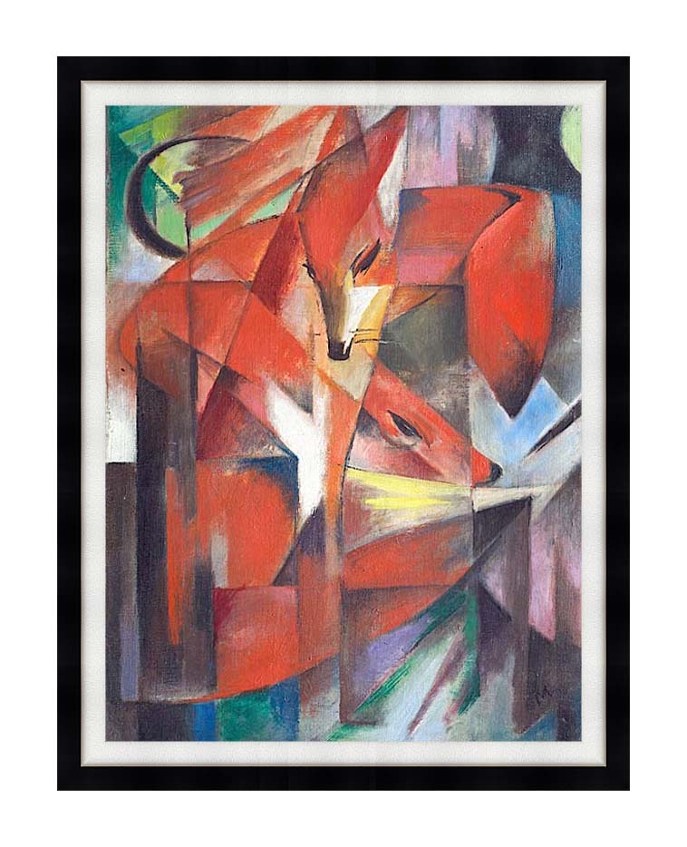Franz Marc The Foxes with Modern Black Frame