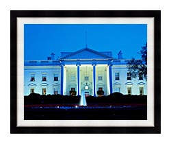 Visions of America White House In Evening Washington DC canvas with modern black frame