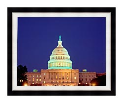 Visions of America U S Capitol Building At Night Washington D C canvas with modern black frame