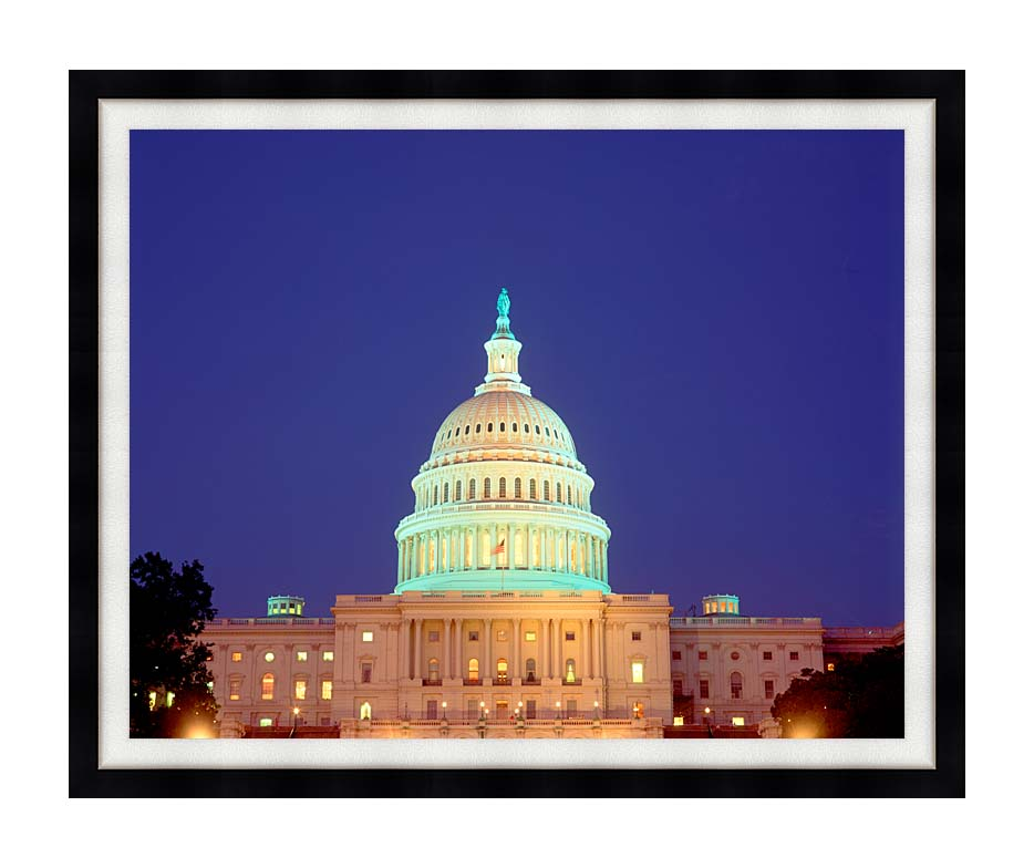 Visions of America U S Capitol Building at Night, Washington, D C with Modern Black Frame
