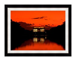 Visions of America Lincoln Memorial At Sunset With Red Sky canvas with modern black frame