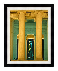 Visions of America Statue Of Thomas Jefferson Washington D C canvas with modern black frame