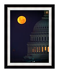 Visions of America Full Moon Over U S Capitol In Washington D C canvas with modern black frame
