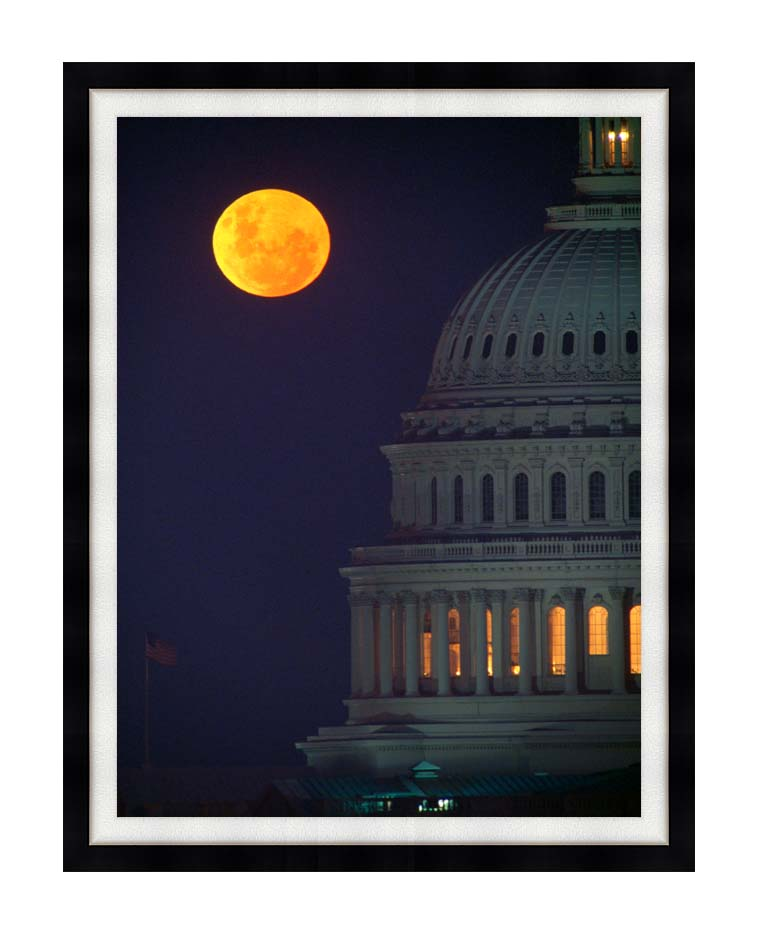 Visions of America Full Moon over U S Capitol in Washington, D C with Modern Black Frame