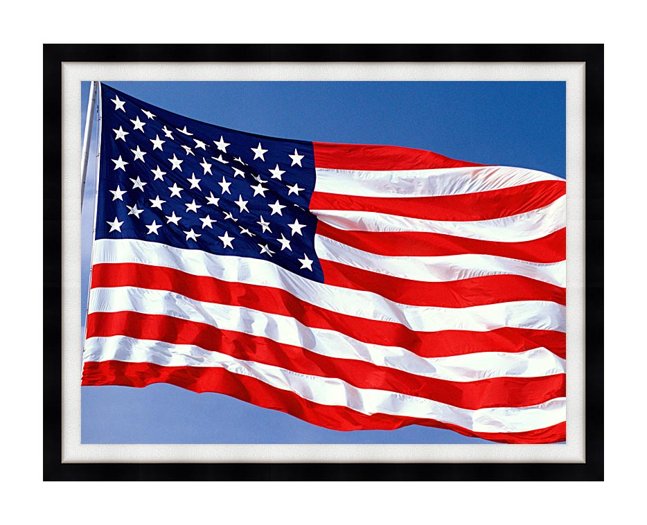 Visions of America American Flag Blowing in the Wind with a Blue Sky with Modern Black Frame