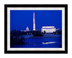 Visions of America Lincoln And Washington Monuments And U S Capitol canvas with modern black frame