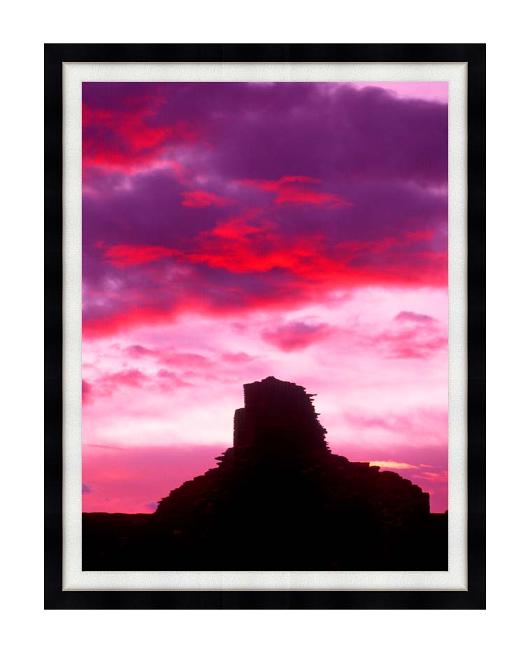 Visions of America Indian Ruins at Sunset, Chaco Canyon, New Mexico with Modern Black Frame