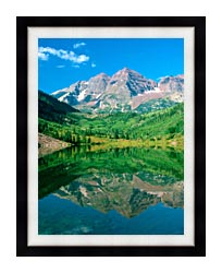 Visions of America Maroon Bell Mountain And Maroon Lake Colorado canvas with modern black frame
