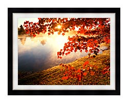 Visions of America Misty Pond With Autumn Leaves In Connecticut canvas with modern black frame