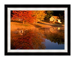 Visions of America Wood Shed On Lake In Autumn Connecticut canvas with modern black frame