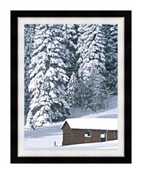 Visions of America Snow Covered Wooden Cabin In Forest California canvas with modern black frame