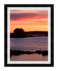 Visions of America House Silhouette At Sunrise Mt Desert Island Maine canvas with modern black frame