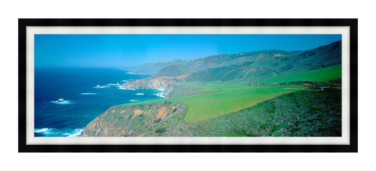 Visions of America Cabrillo Highway on the California Coast with Modern Black Frame