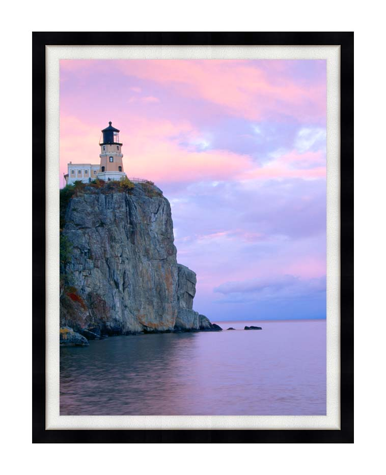 Visions of America Lighthouse, Split Rock, Minnesota with Modern Black Frame