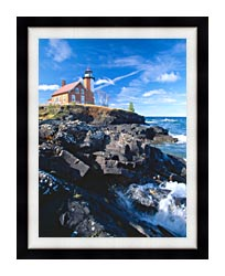Visions of America Eagle Harbor Lighthouse Michigan canvas with modern black frame