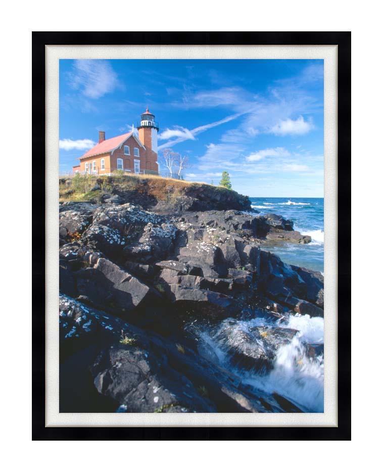 Visions of America Eagle Harbor Lighthouse, Michigan with Modern Black Frame