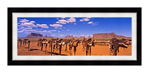 Visions of America A Long Wooden Railing With Saddles canvas with Modern Black frame