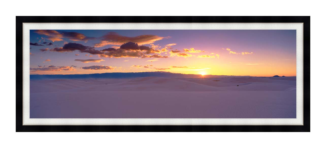 Visions of America Sunrise Over White Sands National Monument with Modern Black Frame