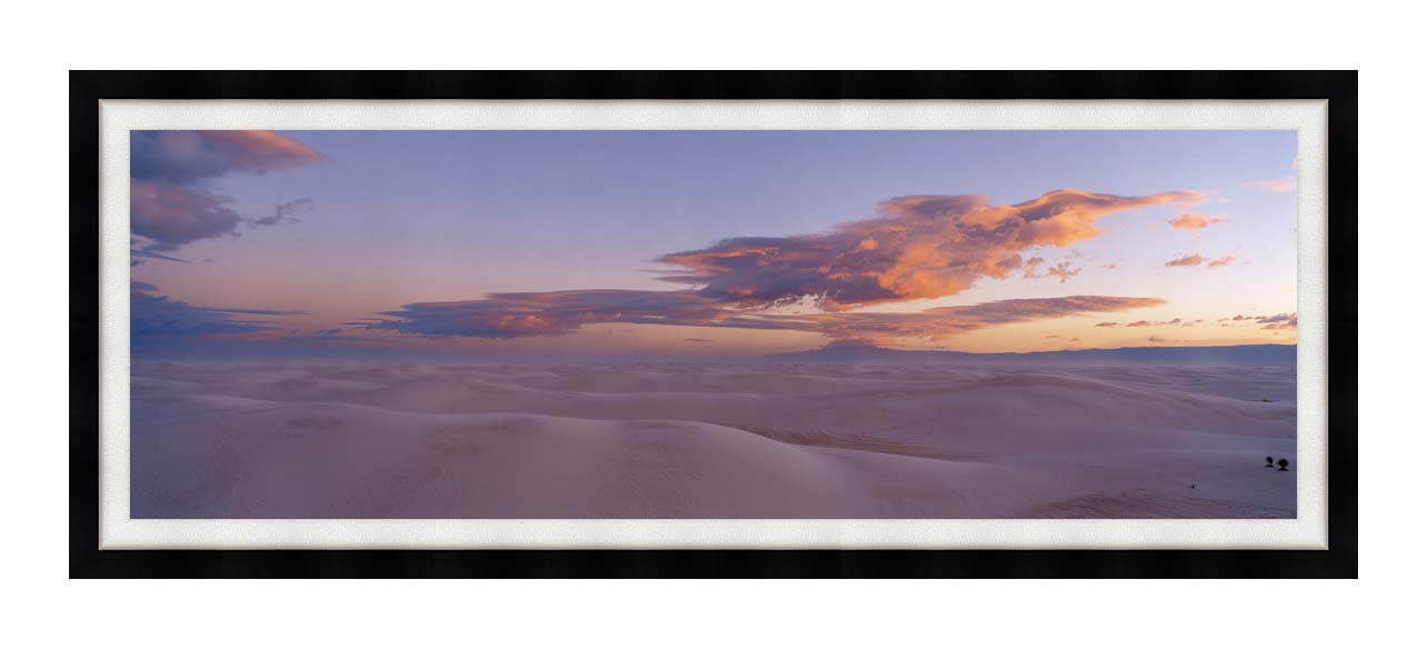 Visions of America Sunset Over White Sands National Monument with Modern Black Frame