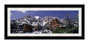 Visions of America Red Rocks Of Sedona With Snow canvas with Modern Black frame