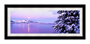 Visions of America Full Moon Rising Over Lake Tahoe canvas with Modern Black frame