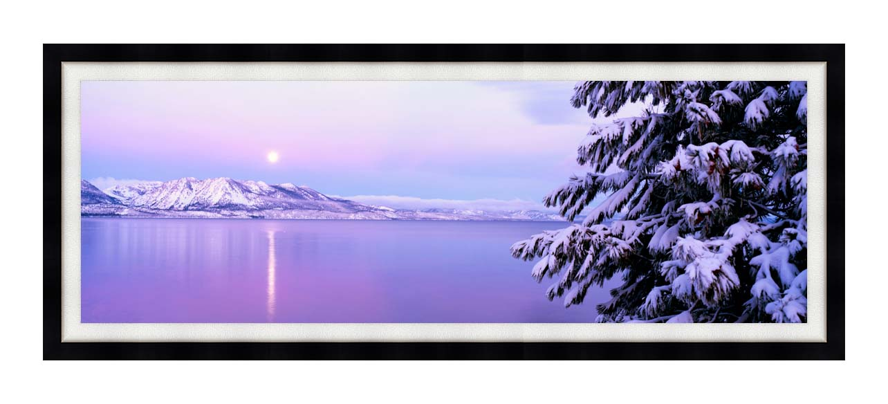 Visions of America Full Moon Rising over Lake Tahoe with Modern Black Frame