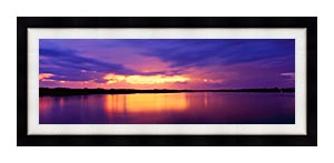 Visions of America Ocean And Pine Island At Sunset canvas with Modern Black frame