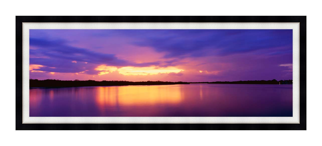 Visions of America Ocean and Pine Island at Sunset with Modern Black Frame